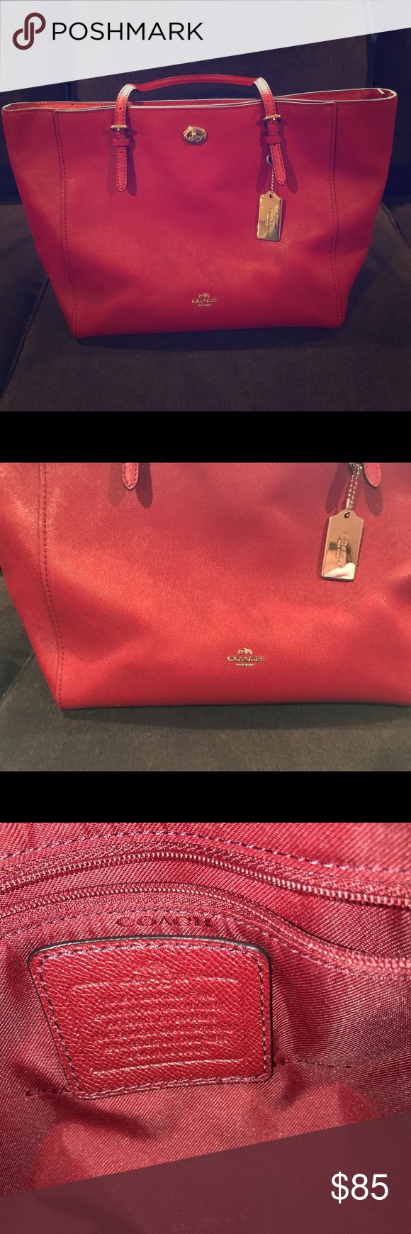 Coach Tote Cranberry Coach Tote- looks great year round! Front pocket with shiny clasp, zipper so important things don't fall out, handles/straps in great condition, interior clean! Coach Bags Totes