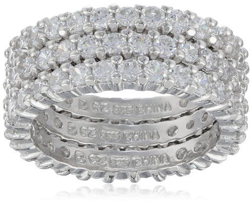 Three Sterling Silver and Simulated Diamond Stacking Eternity Bands