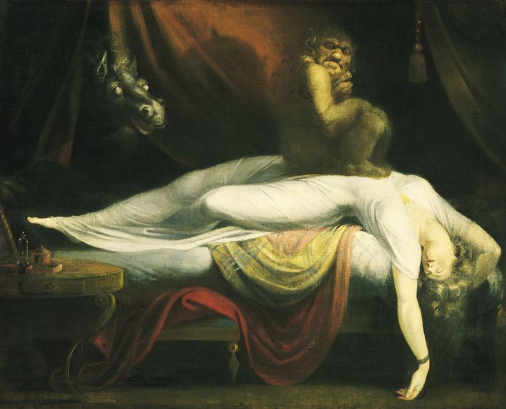 The Nightmare, by Henry Fuseli (1781) is thought to be one of the classic depictions of sleep paralysis perceived as a demonic visitation.