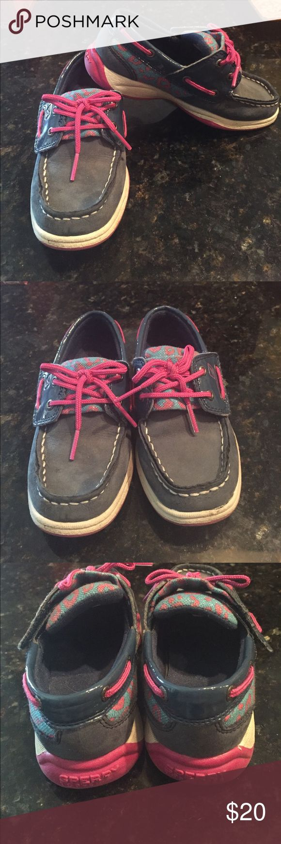Girls sperry 11 Darling pair of navy and pink girls sperrys. See pics for exact condition. From clean pet and smoke free home. I do not ship bundles over 5lbs. Sperry Shoes