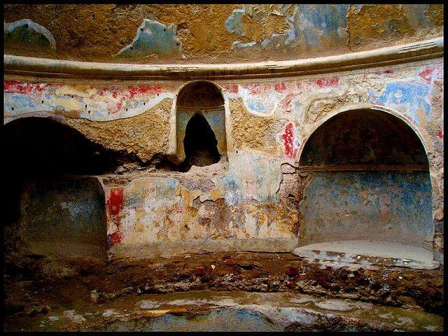 Roman frescoes, Pompeii.