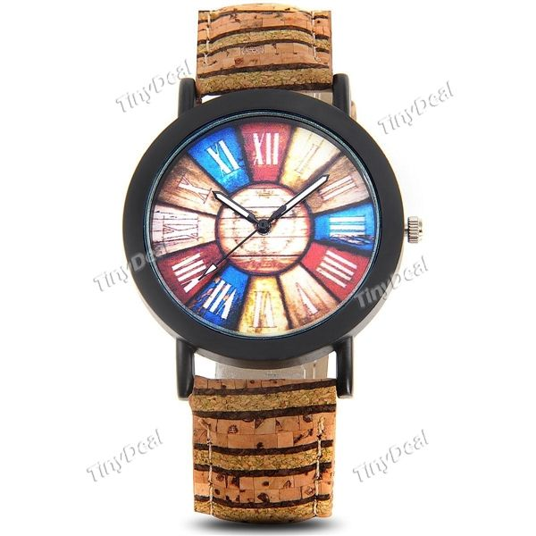 Retro Style Colorful Dial Weave Pattern Genuine Leather Watch Band Quartz Watch for Women WWT-426686