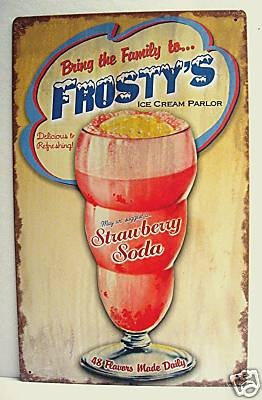 Frosty Ice Cream Parlor Rustic Retro Old Style Tin Sign