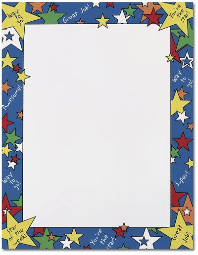 Star of the Week Letterhead  25 or 100 sheet packs. Laser, Inkjet and Copier Compatible. Just add your text & print.