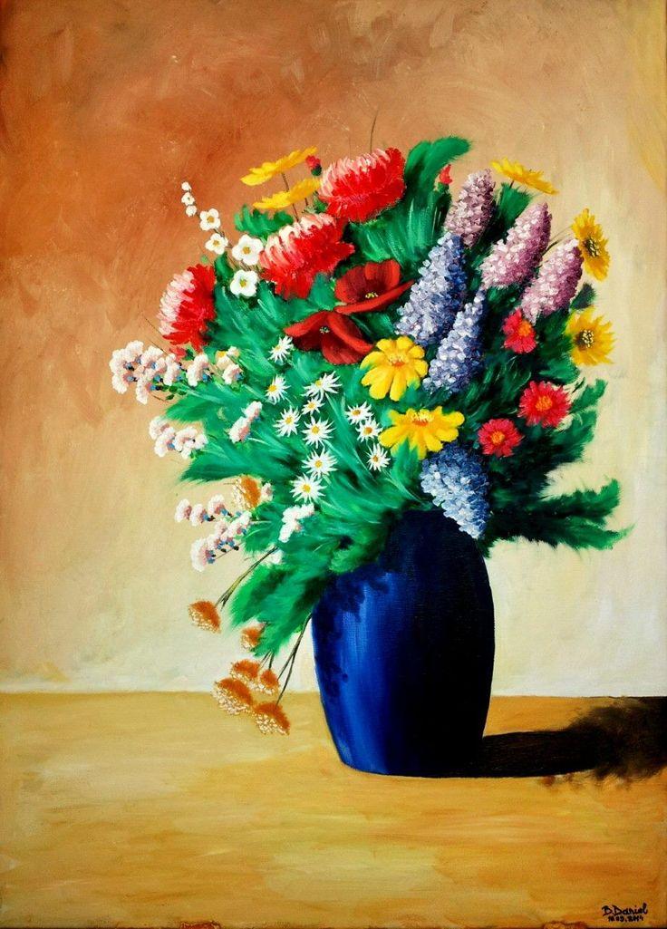 """""""Vaza Cu Flori""""; Pictura in Ulei pe Panza; Dimensiuni 40/70 cm"""