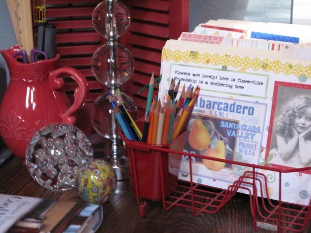 Use a dishrack as a ready-made filing system. | 30 Ways To Instantly Transform Your Workspace