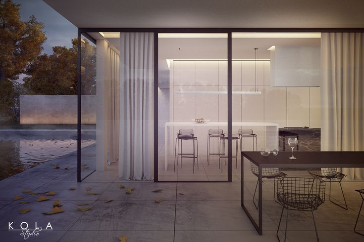 Modern house with a swimming pool in the evening light. Visualization inspired by photograph. Tags: modern house, swimming pool, deck, concrete, white