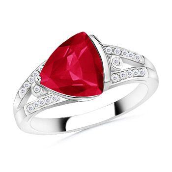 Angara Split Shank Round Garnet Halo Ring with Cluster Diamonds UmRp2L