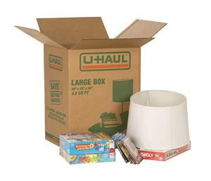 Our large moving box ideal for moving, shipping or storing large, lightweight items such as lampshades, stereo speakers, board games, stuffed animals, pillows and clothing.
