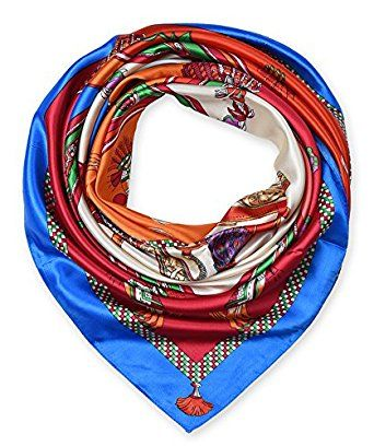 """corciova 35"""" Women's Neckerchief Satin Smooth Scarf for Hair Wrapping at Night Brandeis Blue $9.99 Free Shipping"""