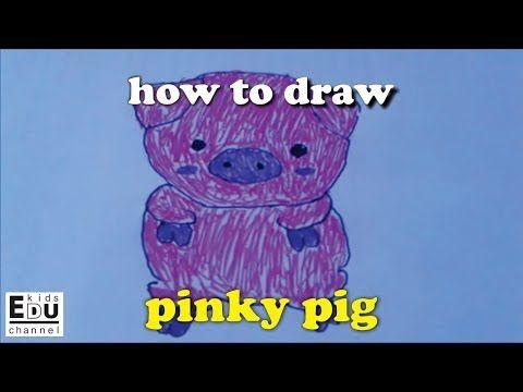 Cara menggambar babi merah muda lucu