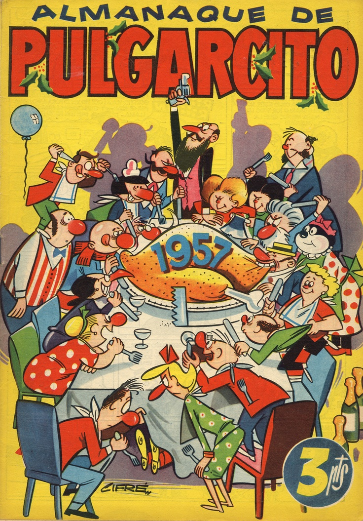 Portada, dibujada por Cifré, del almanaque de Pulgarcito para el año 1957.