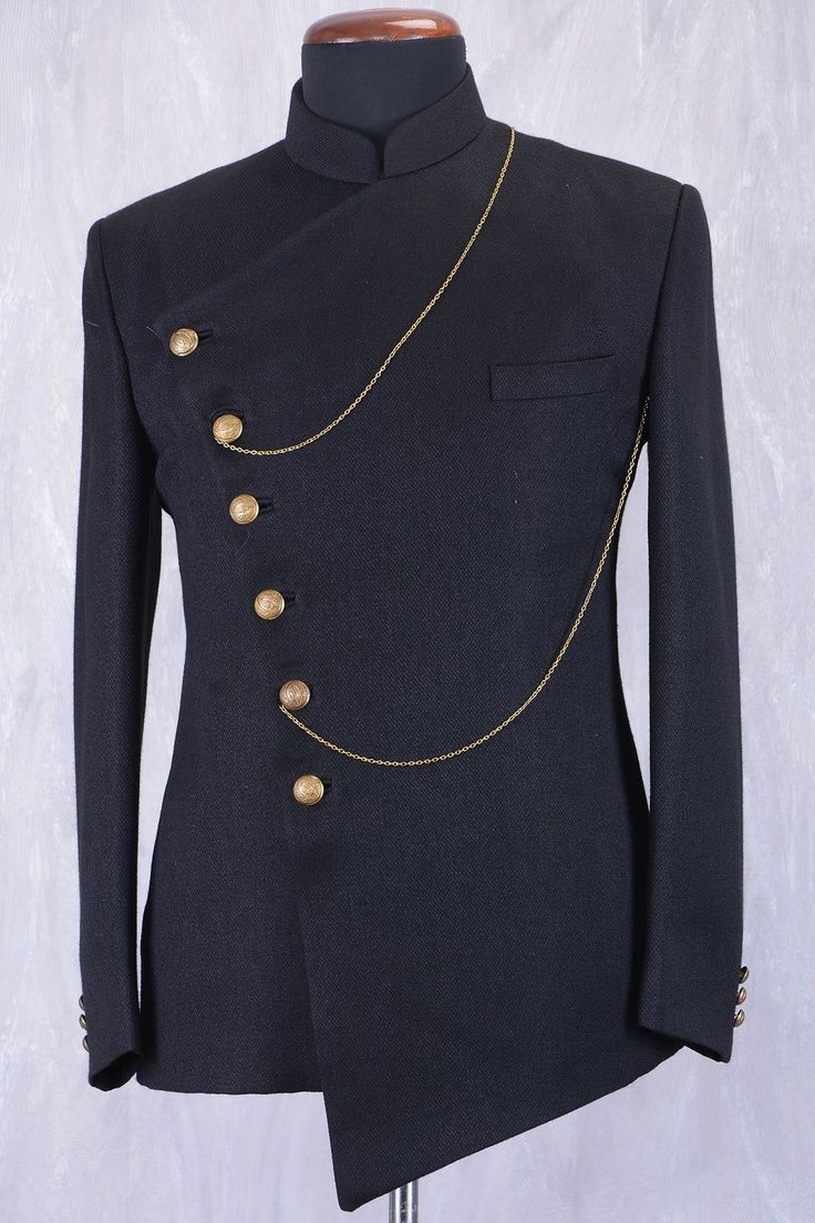 Black Jute Jodhpuri Suit With Bandhgala Collar-ST724