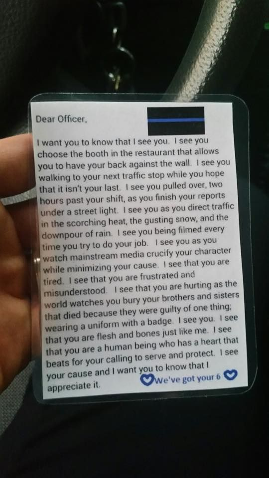 """I want to place this on the cars I see. Just to say """"I appreciate you! I've got your 6!"""""""
