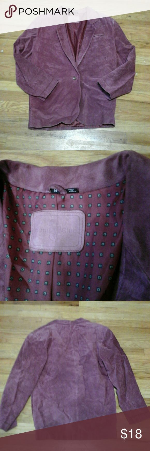 Maroon suede leather coat by Hunt Club If lavender is your color you will stand out in this!  In good vintage condition. Hunt Club Jackets & Coats