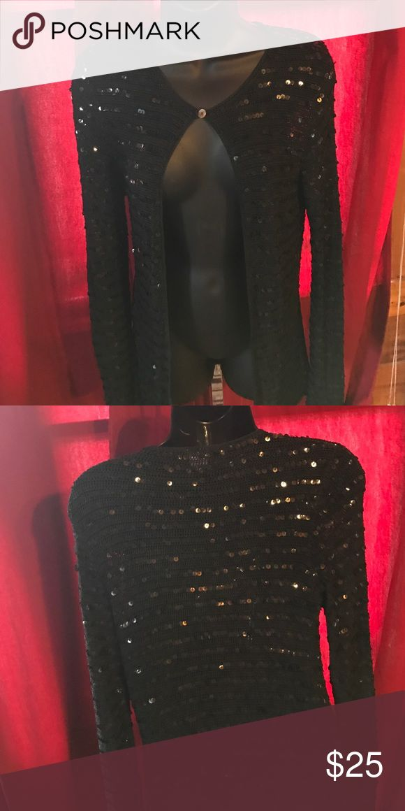 Beautiful Mimi maternity sequin jacket in S Barely worn black sequin Mimi maternity jacket S. Button enclosure at top, a nice heavy feel made up 100% rayon, this is a perfect cover up for church or other dressy event. Mimi maternity Other