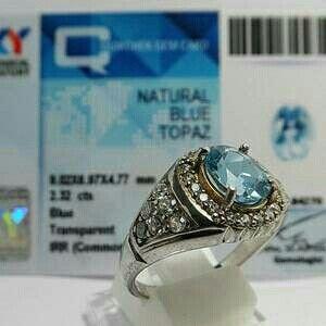Cincin Batu Mulia Blue Topaz (Topas) 270 + Memo Sky Lab + Ring Perak Cowok