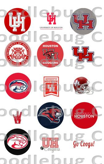 University of Houston Cougars - Printable Bottlecap Images - Instant Download - 15 Images - UH Cougars - Coogs