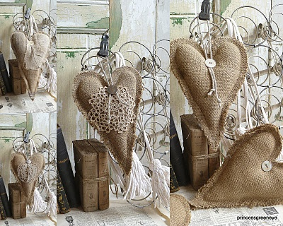 Burlap and lace.  Countless hearts in various sizes - from simple to romantic.