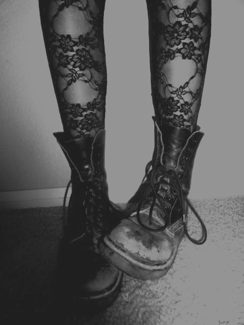 Lace leggings and combat boots.