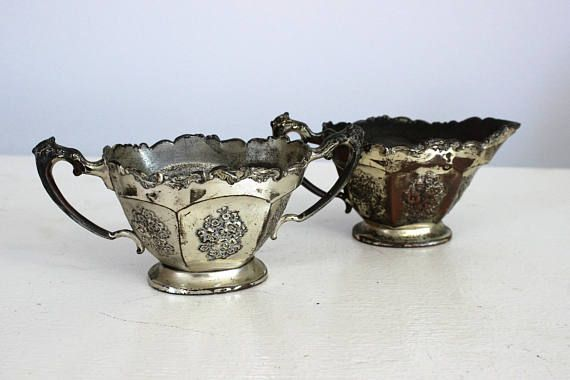 Vintage 1920s Sugar And Creamer Set / Silver Plate Tea Set / Made in Japan/ Silverplate / Gothic Home Decor / Victorian Style / Flapper Era