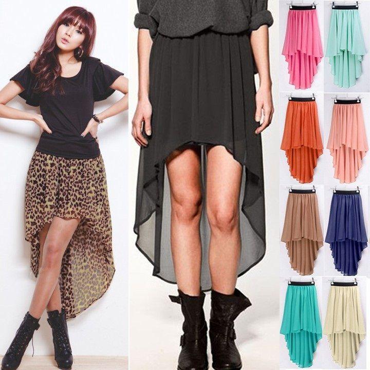 New Sexy Asymmetrical Hem Chiffon Skirt Ladies Long