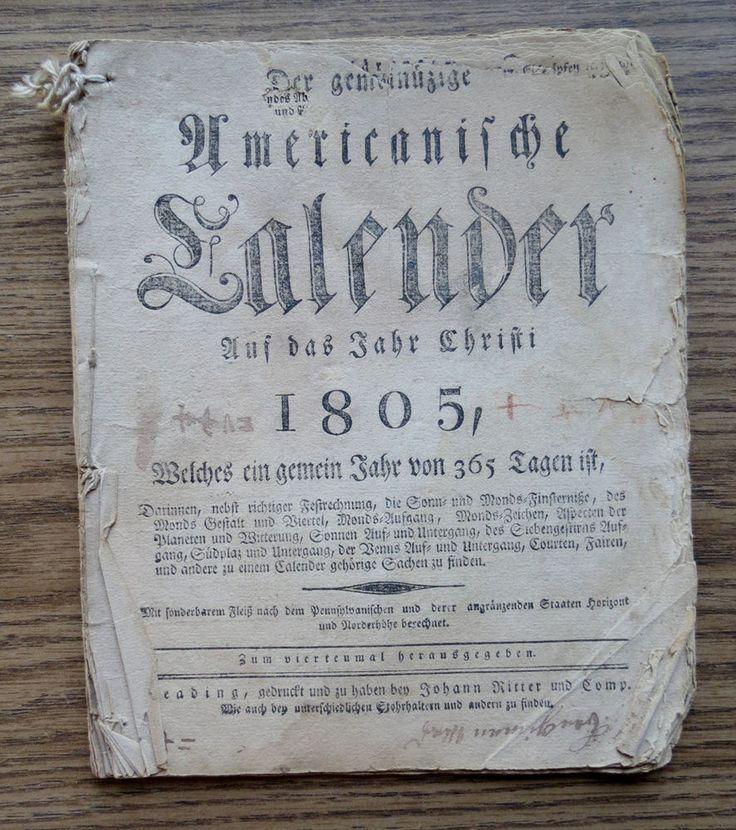 1805 GERMAN ALMANAC - AMERICAN CALENDAR - READING PA