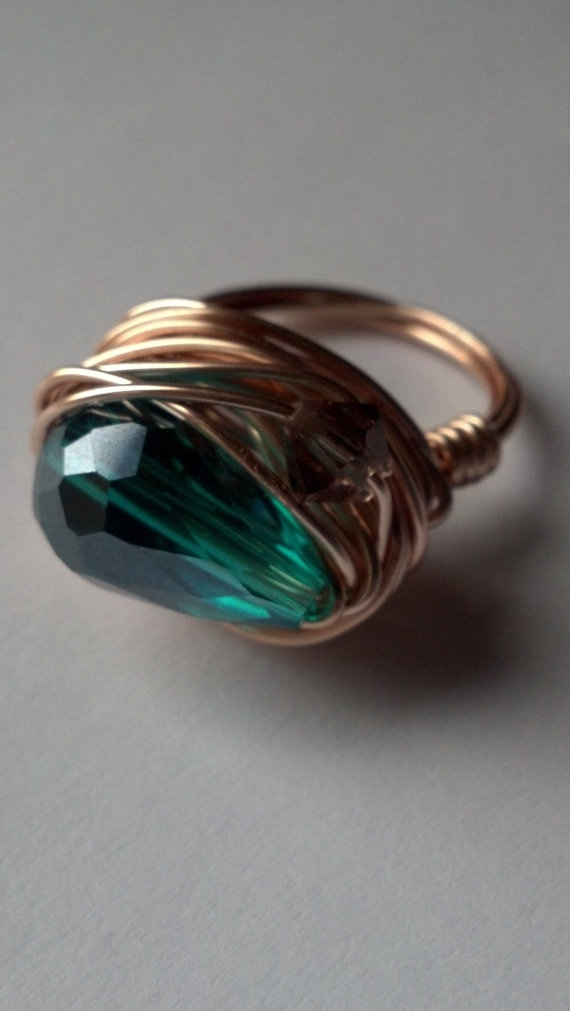 Rose Gold Wrapped Turquoise Ring
