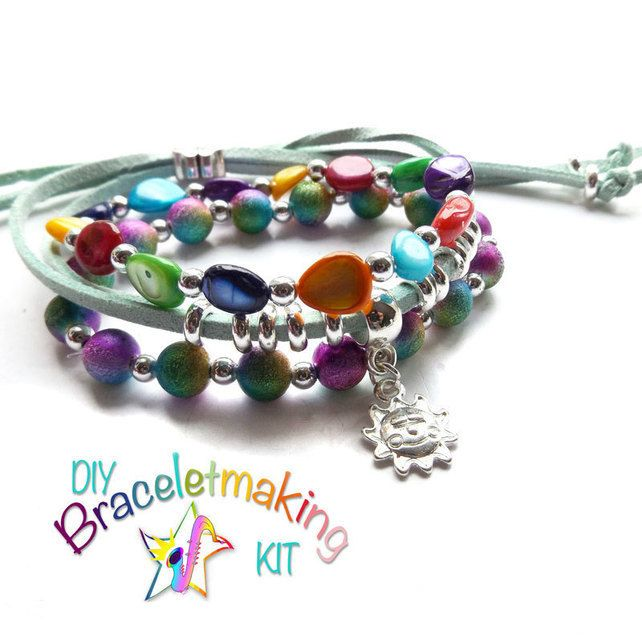 DIY Arm Candy Bracelet-Set of 3 stacking bracelets to make & wear- Rainforest £12.50