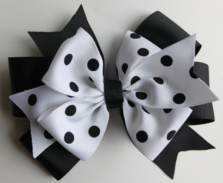White and Black Polka Dot Hair Bow - Girl Bow - Baby Hair Bow - Large Size. $6.00, via Etsy.