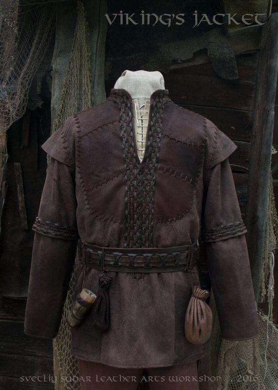 Viking Leather Jacket (inspired Ragnar Lothbrok) / L size / LARP equipment / style fantasy