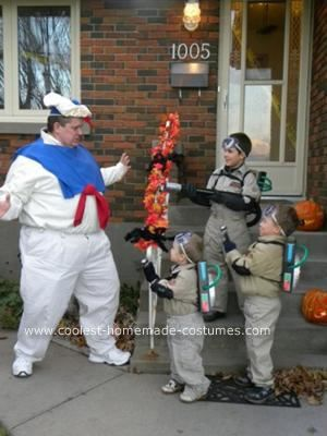 Homemade Ghostbusters and StayPuft Marshmallow Man Costumes: I made these homemade Ghostbusters and StayPuft Marshmallow Man costumes for my husband and three sons.  The Ghostbusters were easy to put together, although