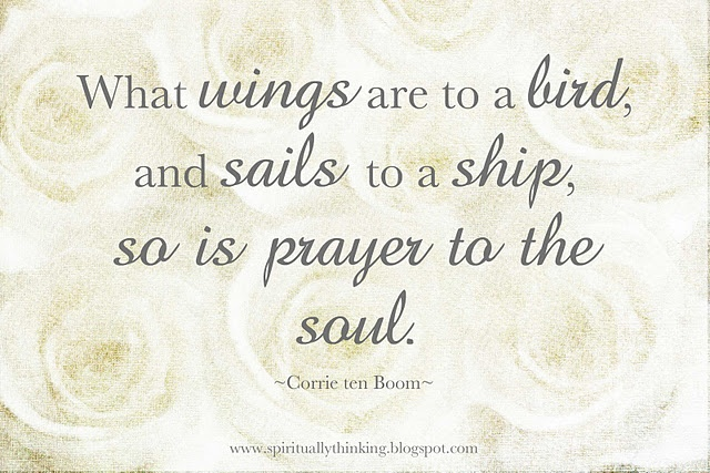 "‎""What wings are to a bird, and sails to a ship, so is prayer to the soul.""  ~Corrie ten Boom"