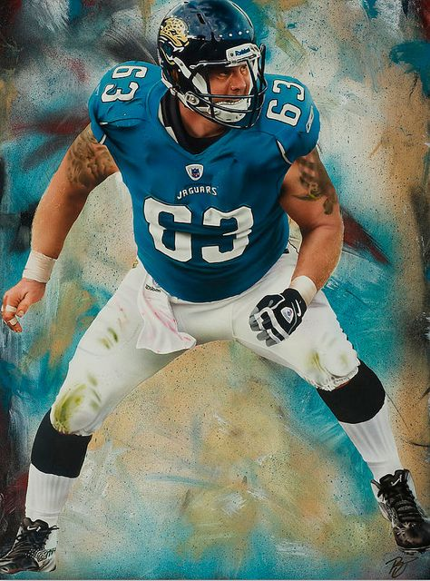 Jacksonville Jaguars offensive lineman Brad Meester by Rob Jackson, acrylic on canvas