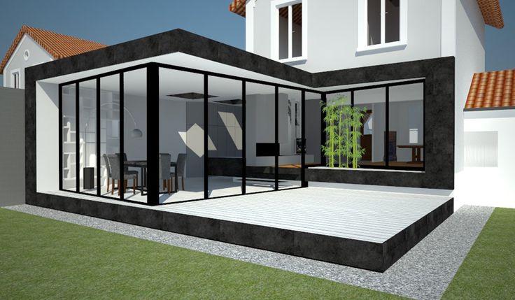 Il s'agit d'une petite extension en verre et métal. Le Client ne souhaitait pas acheter une extension traditionnelle ainsi il a fait appel à l'architecte pour se faire proposer une nouvelle idée.  La structure est très simple et minimaliste, elle pourrait s'adapter facilement à d'autres constructions. La façade est pour la plupart en verre, sauf le cadre, qui est en Trespa, matériel très résistant qui peut être décliné dans centaines de couleurs. Pour ne pas laisser la cuisine dans...