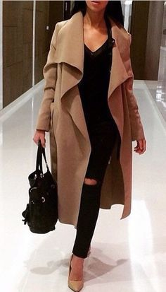 Caitlyn Camel Belted Waterfall Trench Coat by Celebhandmadefashion