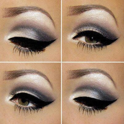 white shadow/smokey eye