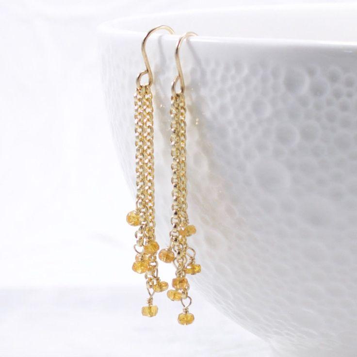 Padparadscha Sapphire Gemstone Dangle Earrings 14k Gold Filled #Handmade #DropDangle