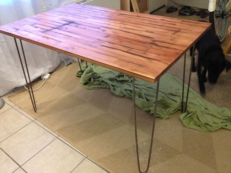 Using An Ikea Table And Adding Hairpin Legs. And Restaining It Love!