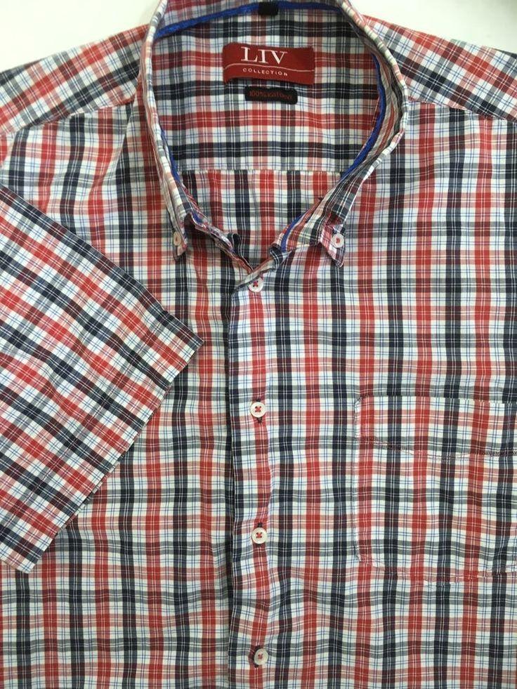 Mens Red White Blue Plaid Shirt Sz L Button Front Short Sleeve Liv Collection #LivCollection #ButtonFront