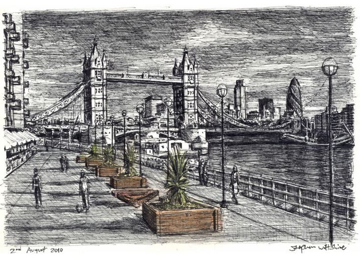 River Thames with Tower Bridge - drawings and paintings by Stephen Wiltshire MBE (AMAZING)