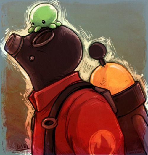 TF2 Pyro and Brain slug <3