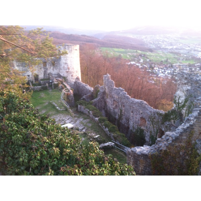 Castle Ruins on top of the mountain in Dornach, Switzerland.