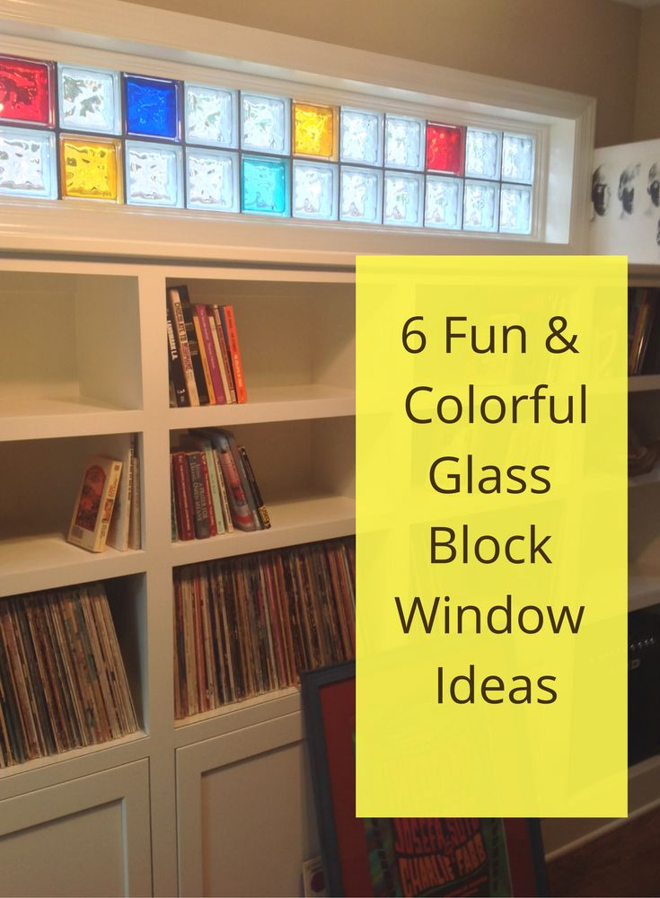 Can a replacement window be a piece of art? I think so with this Piet Mondrian inspired clear and colored glass block window. Get 6 fun and colorful window ideas in this post.
