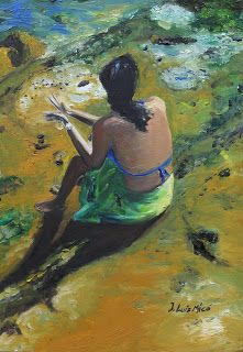 LU. Dibujos y pinturas.: Mujer frente al mar, woman in front the sea.