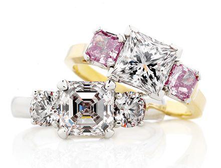 18k Princess Cut Pink Diamond in Platinum  | Holloway Diamonds