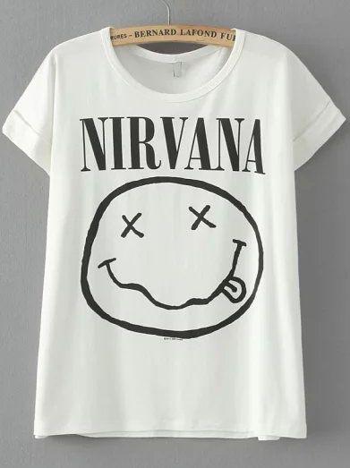 White Short Sleeve NIRVANA Face Irresistible Ugly Print T-Shirt