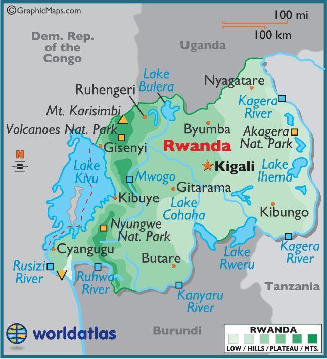 Africa Map Showing Rwanda.Rwanda Large Color Map In 2019 Rwanda Travel Map Africa