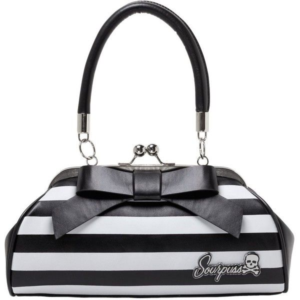 Sourpuss Floozy Purse Striped White/Black: Handbags: Amazon.com ($45) ❤ liked on Polyvore featuring bags, handbags, purse bag, hand bags, hand-bag, striped handbag and black white striped purse