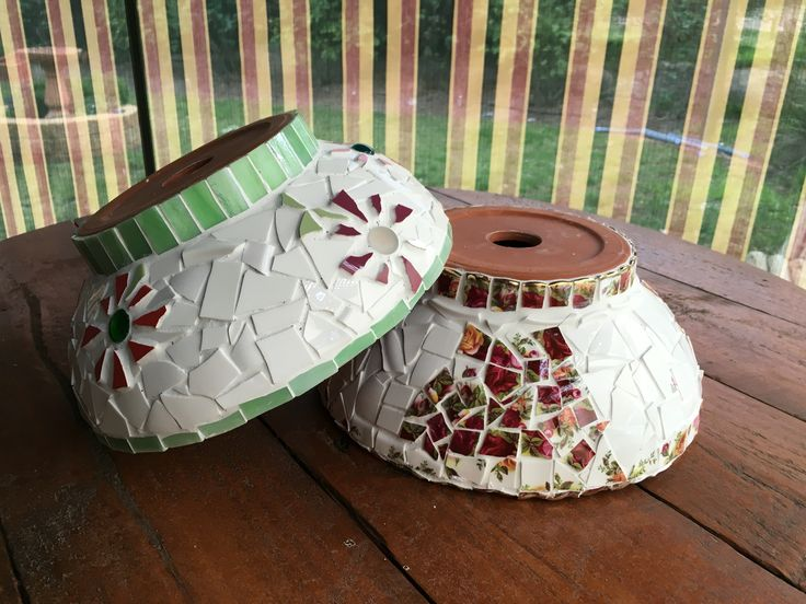 Cheap terracotta bowls mosaiced with broken China and tiles